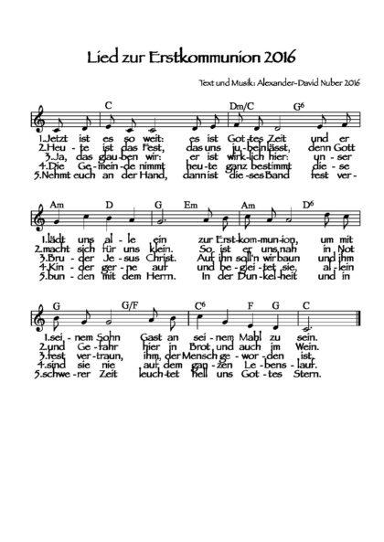 Lied zur Erstkommunion 2016